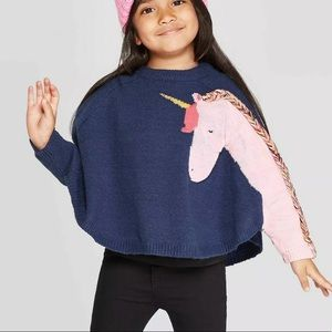 Cat & Jack unicorn sleeve poncho cape pullover 4t